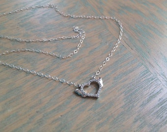Silver Necklace, Winged Heart Necklace, Cubic Zirconia Heart, Silver Charm Necklace, Micro Charm, Dainty Necklaces, Lightweight Jewelry