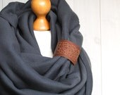CHUNKY Infinity Scarf with leather cuff, winter fashion infinity scarf, charcoal snood with engraved cuff
