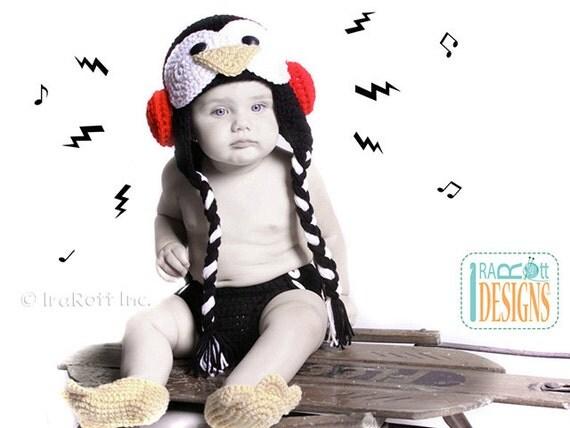 PATTERN - Happy Penguin Hat, Diaper Cover and Penguin Feet Slippers Set - Crochet PDF Pattern