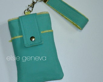Solid Aqua Jade Yellow or Wine or Blue  Phone Case with Wristlet & Back Zipper Pocket iPhone 4 5 6 Plus Note