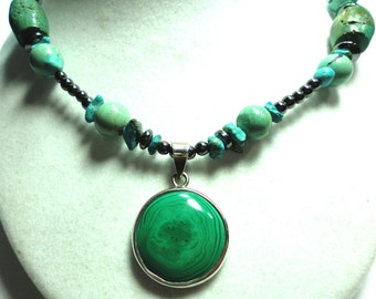 Malachite Pendant with Turquoise and Hematite Necklace with Sterling Silver