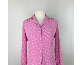 Vintage Pink Silk Bow Blouse Top