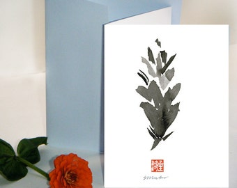 Pine Cones - Zen greeting cards,  Zen Painting with Haiku, japanese style, thank you cards, condolence card, sympathy card,free shipping