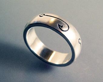 Fish Hook Fishing Ring or Wedding Band