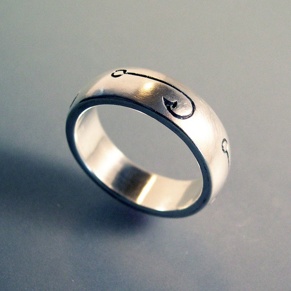Fish hook fishing ring or wedding band for Fishing wedding band