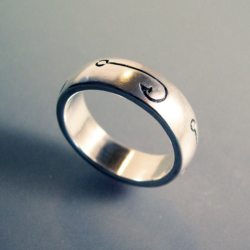 fish hook fishing ring or wedding band