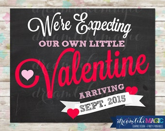 Valentine Chalkboard Pregnancy Announcement. Valentine Photo Prop, Pregnancy Announcement, Baby on the way, Little Sweetie on the way