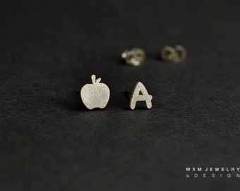 Sterling Silver A for Apple (Teacher) Stud Earrings