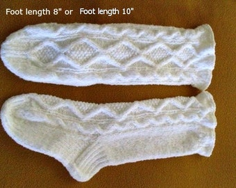 "Knee socks hand knit. Foot length 8 "" or Foot length 10"". Unique plush chunky yarn.Cable design. Ruffle cuff. Slipper socks.Ready to ship."