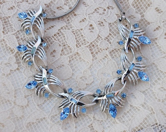 Coro Rhodium plate Blue Marquise necklace