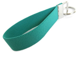 Bracelet Stretch Key Fob Light Teal Green Key Organizer Stretchy Wristlet Key Holder Solid Green