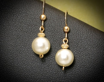Pearl Gold Drop Earrings, Small Majorca White Pearl Earrings