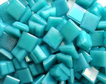 "100 MINI Turquoise/Dark Aqua Iridescent Vitreous Glass Tiles 3/8""//Mosaic//Mosaic Supplies"