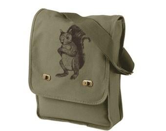 Army Green Squirrel Messenger Bag - Squirrel Cotton Canvas Messenger Bag - Authentic Pigment Canvas Field Bag