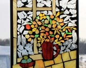 MOSAIC FLOWERS in pitcher . Stained Glass SunCatcher or wall Decoration