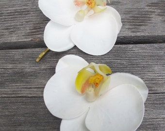 Hawaiian  WHITE Orchids SET OF 2 bobby pin flowers-hair clips - Weddings -