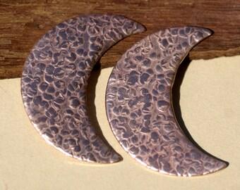 Hammered Moon Fantastica Luna 45mm x 30mm Metal Blanks Shape Form - 2 pieces