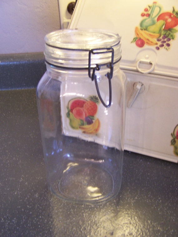 Vintage Glass Canister Jar Italy Ermetico Large Glass Jar