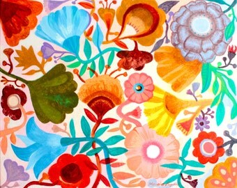 Orange Garden - Fine art print from original flowers painting. Folk, bohemian, funky, naive, primitive.