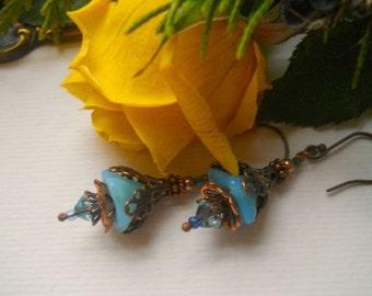 Blue Bellflower and Copper Filigree Earrings