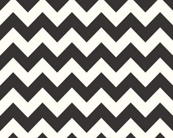 Riley Blake Medium Chevron print in  Black on Cream - 1 yard