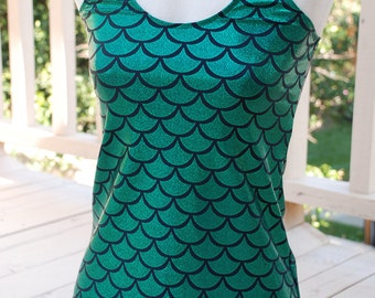 Green Mermaid top racer back style -  Small