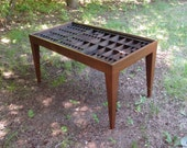 Walnut  coffee table for a letterpress box or printer's type tray that enables you to display shells, jewelry, stones, arrowheads and more.