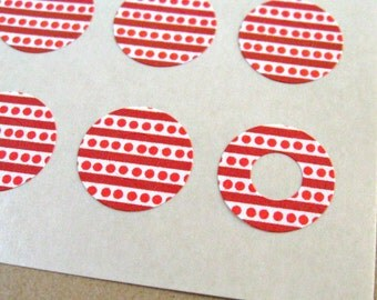 Red & Burgundy Stripes and Polka Dots - Trendy Page Dots - Circle Reinforcements - Labels, Stickers - Hole Reinforcements
