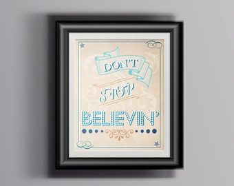 Journey / Glee Don't Stop Believin' Poster / Print
