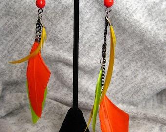 Asymetrical Feather Earrings Long Dangle Earrings Gift for Her Mom Gift Statement Earrings Neon Boho Earrings Bohemian Earrings for Her Gift