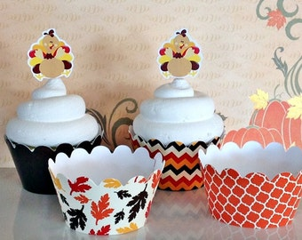 12- Fall Cupcake Wrappers, Thanksgiving, Turkey, Harvest