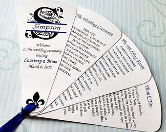 Wedding Program Fans, Petal Fan, Wedding Fan- SPLIT MONOGRAM