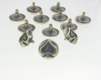 10 pcs.Vintage Antique Brass Ace Rivets Studs Buttons Decorations Findings 14 mm. Ace BR14 3 RV RC