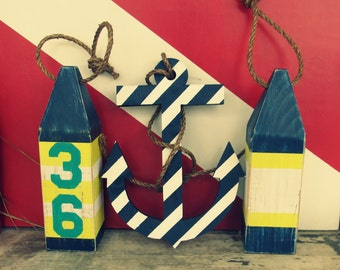 OOAK Reclaimed Wood Buoy and Anchor Set.Nautical Decor.  Beach Decor. Lake Decor. Made to Order.