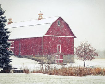 Red Barn in Snow Photography winter snow country at Christmastime wonderland 8x12