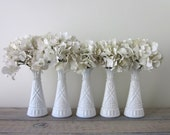Set of 5 Small Milk Glass Vases - Instant Collection