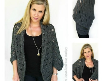 Crochet Cardigan Pattern - Oversized Chunky Shrug Crochet Pattern No.920 Digital Download PDF Beginner Pattern