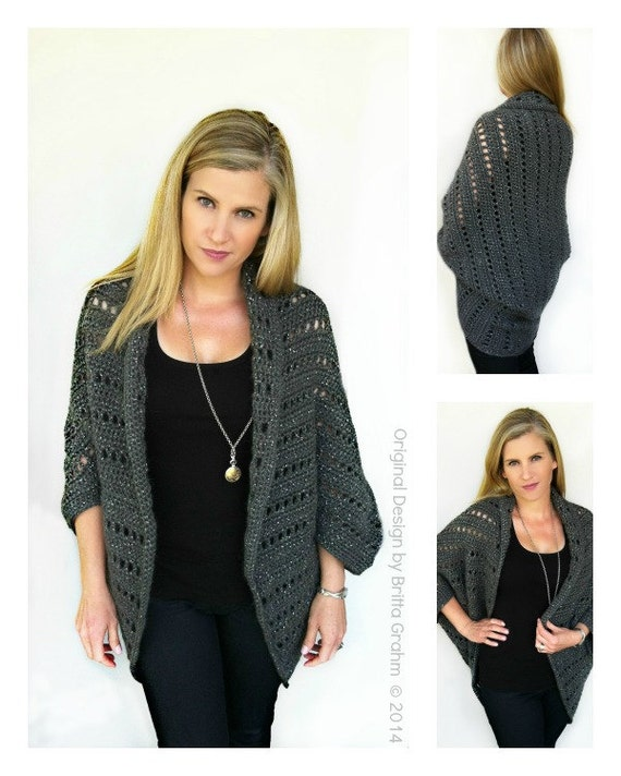 Crochet Cardigan Pattern Oversized Chunky Shrug Crochet