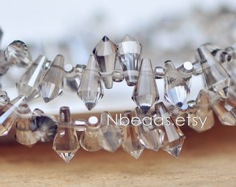 100 beads- Faceted Crystal Glass Briolette beads 8mm, Top Drilled Teardrop, Bicone Long Drop, Clear Grey (#TS72-9)