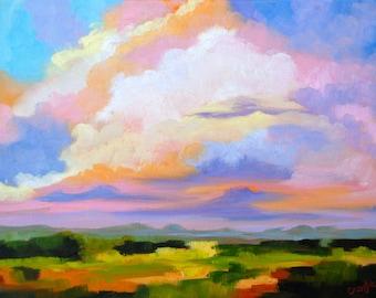 Modern Fine Art Impressionist Rebecca Croft Original Oil Painting Cloudy Colorful Sky Landscape