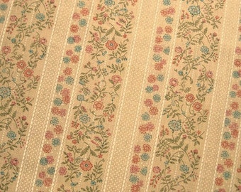 Floral Fabric, Floral Print Fabric, Fall Fabric Tan Fabric Calico Fabric Floral Stripe Fabric Blue Flowers Orange Flowers Lightweight Fabric