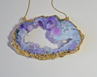Gold Geode Amethyst  Necklace - Druzy Necklace -Gold Geode Necklace- Choose Your Geode - 14K Gold Filled- Bohemian Necklace