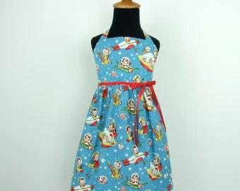 Vintage Inspired  Blue Spaceship Girl's Dress