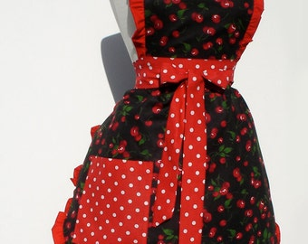 Red Retro Cherries and Polkadots Apron