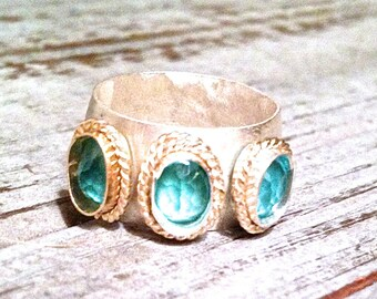 Exquisite Moroccan Inspired Mixed Metal Triple Gemstone Statement Ring with Seafoam Apatite