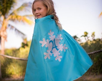 Personalized Letter Princess cloak Glitter / Sparkle snow princess ice queen Turquoise and Ice Blue , 2T - 7T, costume  birthday gift