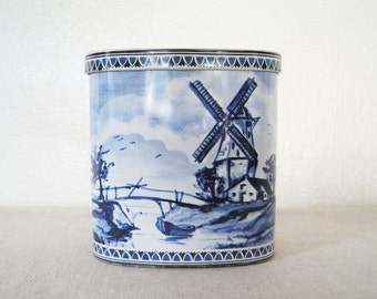 Vintage German Tin Container Blue and White Delft Style Windmill Boats Landscape