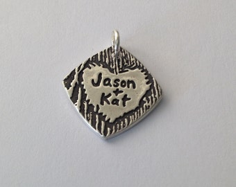 "Small Personalized Charm or Pendant - The Look of Carving Your Names Into ""Wood""--Made to Order Silver Pendant or Charm"