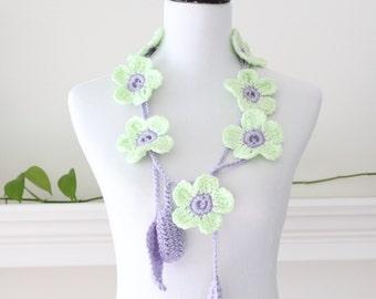 Crochet Light Green, Lavender Lariat  Scarf, Necklace, Scarflette