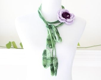 Purple and Green Lariat  Scarf, Necklace, Scarflette